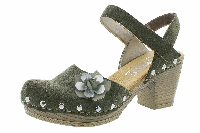 Rieker 66778-55 zapatos señora sandalias plataforma de cuero verde