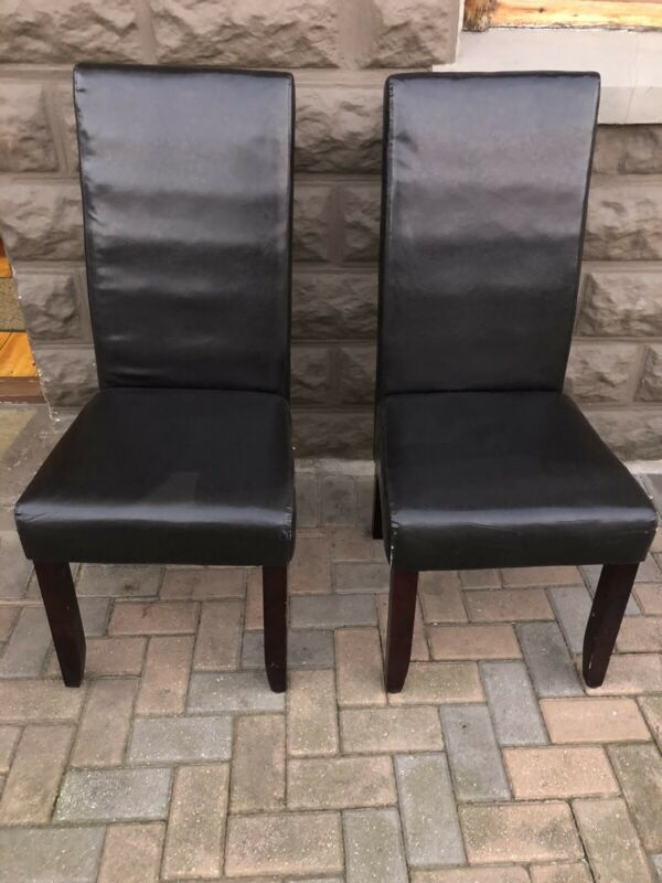 Dining Chairs x 2 - Bonded Leather High Back in Chocolate Brown - Good - Delivery Arranged