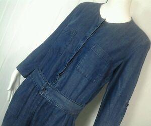 Ann Taylor Loft Jumpsuit Romper Sz 14 Blue Chambray Linen Blend Ebay