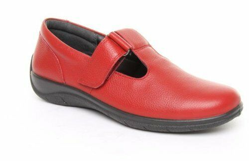 PADDERS Cherry Red T-Bar Shoes PIVOT Leather Wide Fitting Comfort Soft Leather PIVOT ~UK 4.5~ d3adae