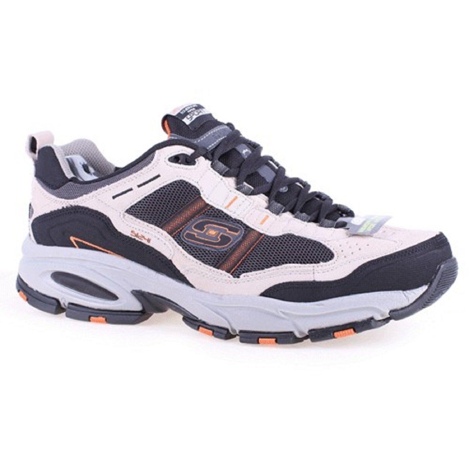 Men Skechers MEMORY-TRAIT 51241TPBK Taupe Memory Foam Lace-Up Sneaker Shoes