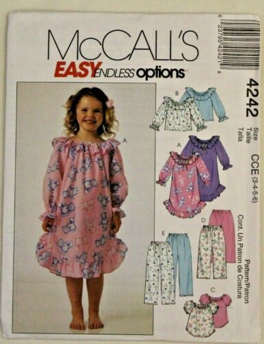 McCall/'s 4242 Girls Nightgown Tops /& Pants 3-4-5-6 sew pattern NEW UNCUT