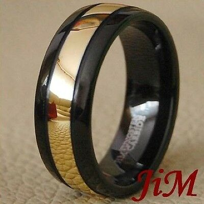 Mens Tungsten Carbide Ring Black & 18K Gold Wedding Band Size 6-15