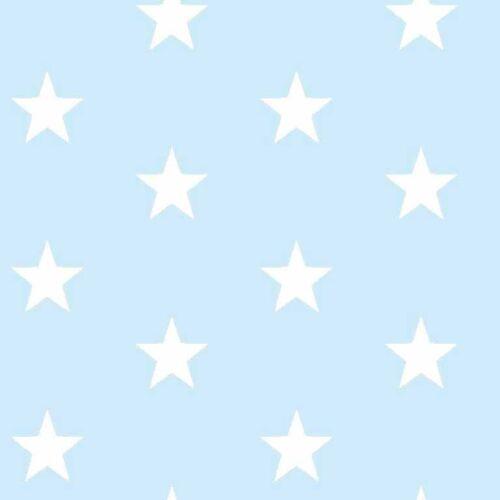 Estrellas de color azul pálido y Tela De Algodón Blanco Por Metros ex amplia Infantiles Niños Moda