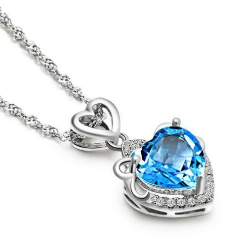 """Sterling Silver Blue Topaz Flower Heart Love Pendant Necklace 18/"""" Chain Gift Box"""