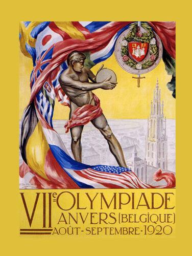 Belgium Belgique 1920 Olympics Sport Europe Flags Vintage Poster Repro FREE S//H