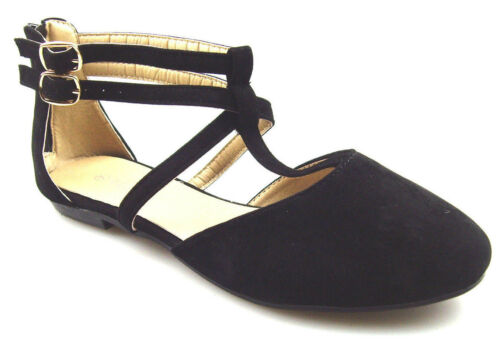 Details about  /Women/'s Black Ankle Strap Casual Slip On Ballet Flat Shoes with zipper