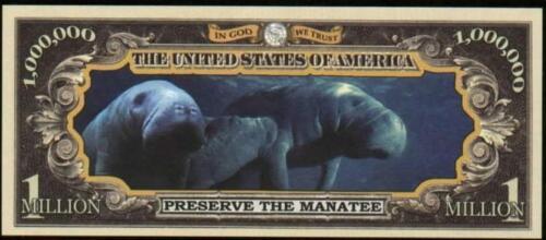 Million Note MANATEE Fantasy Money Beautiful -Endangered Species Series