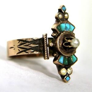 Fantastic-Art-Deco-Egyptian-Revival-Turquoise-Pearl-9ct-Rose-Gold-Ring-L-5-3-4