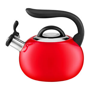 STAINLESS-STEEL-Whistling-KETTLE-Electric-Gas-HOBS-Stove-Top-SAINT-2L-RED-BLACK