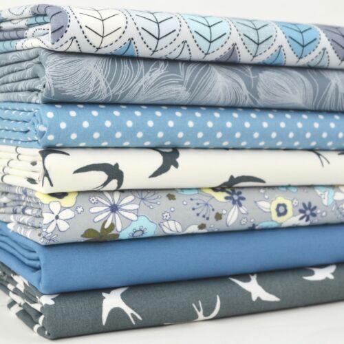 Blue /& Silver Grey FLORALS ET OISEAUX 7 pièces FAT TRIMESTRE BUNDLE 100/% tissu de coton