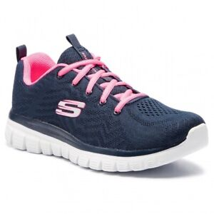 Skechers, Sneakers donna con Memory Foam Navy/Pink, Graceful-get connected 12615