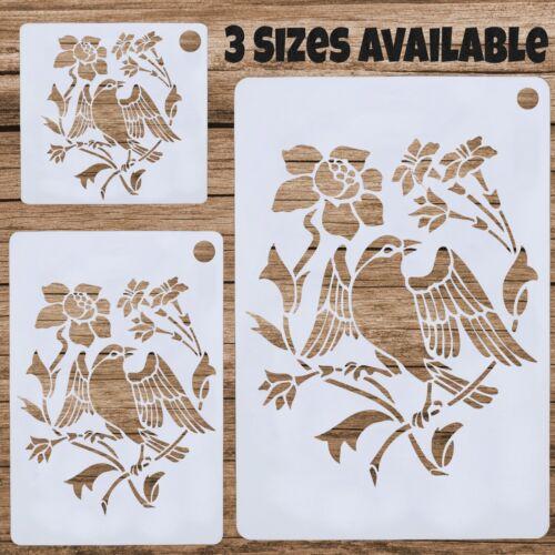 Oiseau en Floral Fleurs Shabby Chic Stencil Guide Modèle Mylar Art réutilisable
