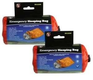 2-Pack-Heavy-Duty-Emergency-Thermal-Sleeping-Bag-Camping-Outdoor-Survival
