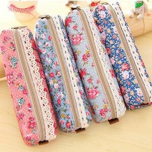 Girls-Flower-Lace-Floral-Pencil-Case-Pen-Bag-Purse-Cosmetic-Makeup-Pouch-Bag