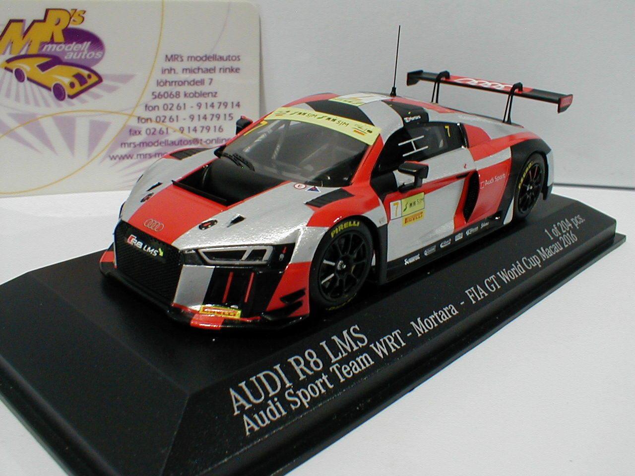 MINICHAMPS 437161107-Audi r8 LMS World Cup Macao 2016    Motara  expérimentés 1 43 Nouveau 5ee4ff