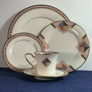 Noritake-Momentum-5-piece-Dinner-Place-Setting-7734-Pink-Gold-1990-discontinued