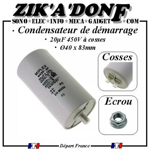 Condensateur de démarrage moteur 25MF 25µF 25uF 450V à cosses (permanent)