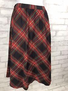 Vintage Lady Blair Christmas Red Black Plaid A Line Skirt Knee Length Size M/L