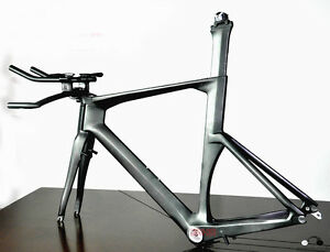 56cm-Carbon-Time-Trial-Bike-Frame-Fork-Seatpost-Handlebar-UD-Di2-Triathlon-brake