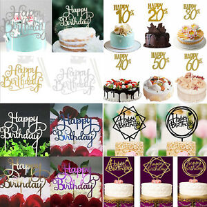 NEW-Happy-Birthday-Cake-Topper-Pick-Topper-Spark-Glitter-Party-Favour-Gift-Craft