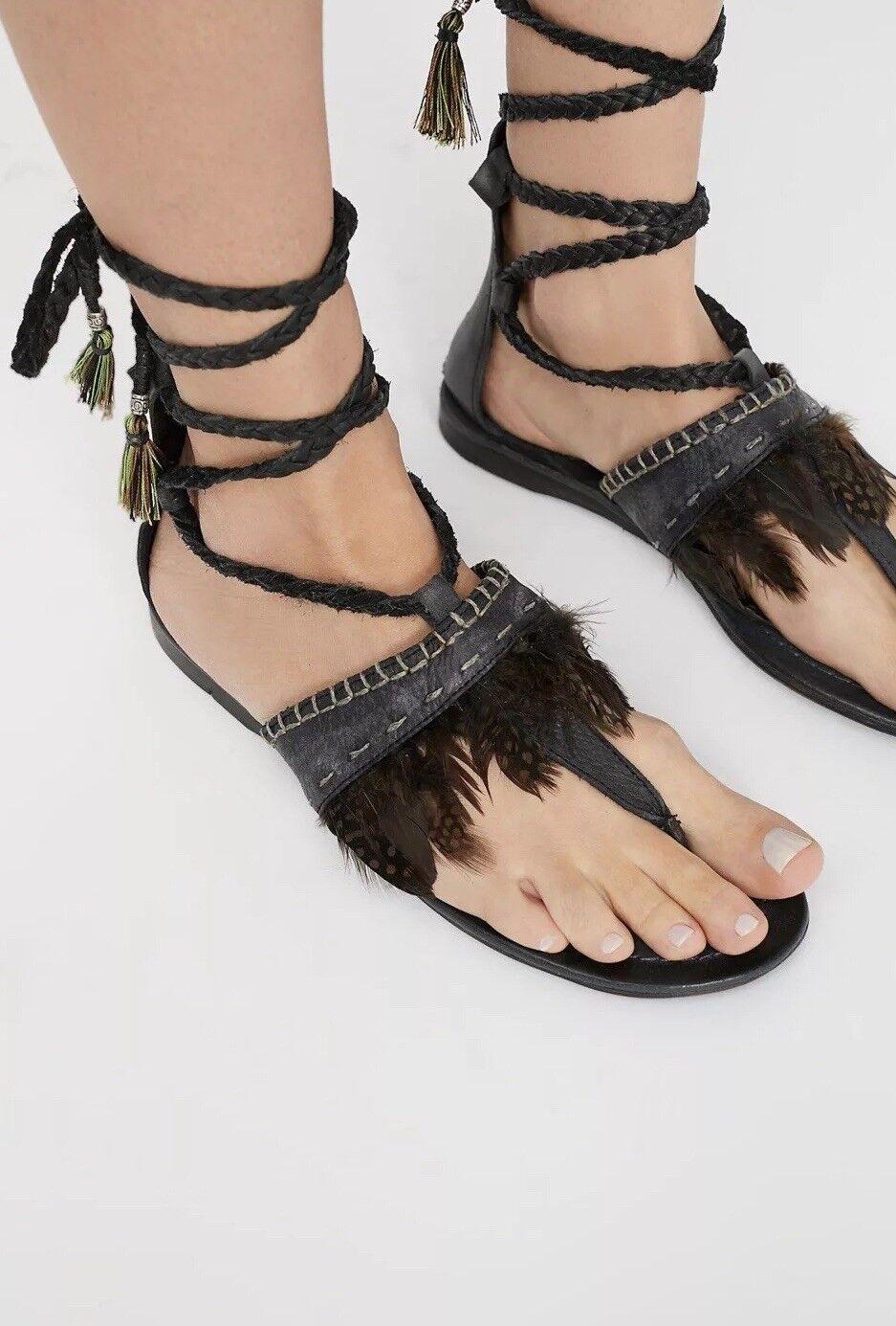 NEW Free People Bora Bora Wrap Sandals Dimensione Dimensione Dimensione 40 Kendy Feather b91126