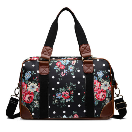 Black Oilcloth Flower grey Print Laptop blue Handbag Bag Crossbody Women Matte Large clFKT1J3