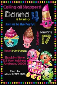 12 shopkins birthday party invitations personalized custom printed, Party invitations