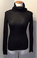 Dolce & Gabbana Metallic Black/Silver Rib Knit Turtleneck Sweater (24/38)