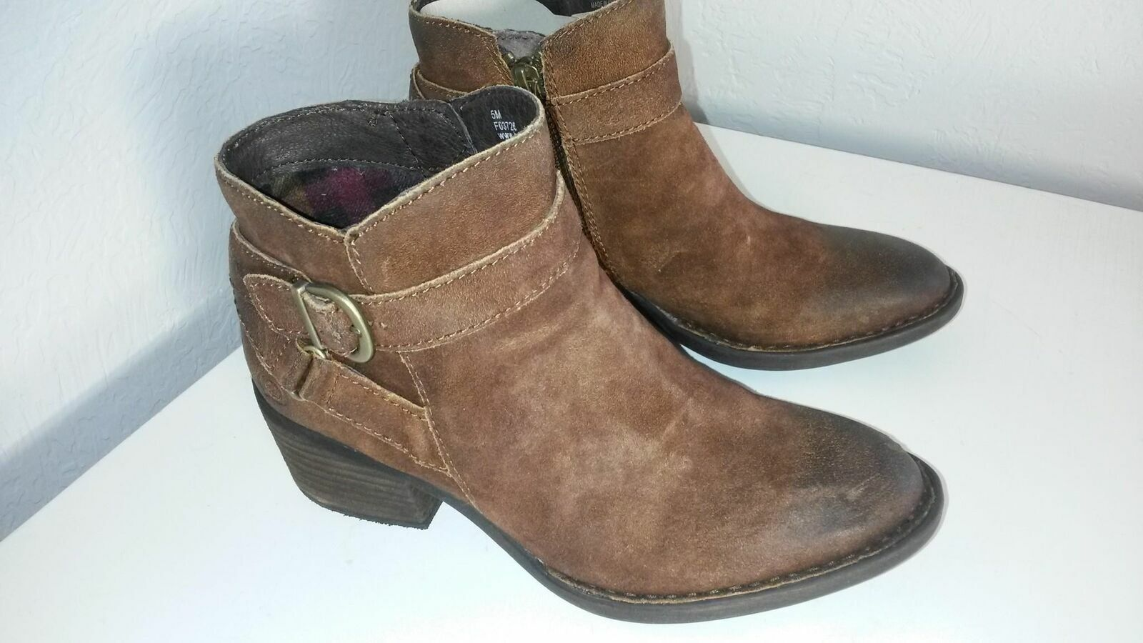 Born Women's Binghamton Brown Distressed Leather Ankle Boots Size 5M (BR021)