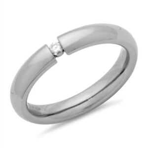 Z STERLING SILVER 5MM MENS LADIES DIAMOND SET WEDDING RING SIZE K