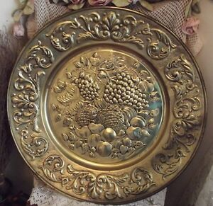 Huge vintage brass wall charger plaque plate chic holland for Plaque murale decorative metal
