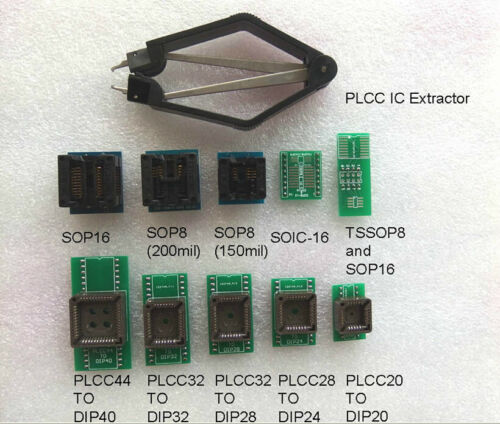 IC extractor 10 Programmer Adapters Sockets SP8 SP16 PLCC20//24//28//32//44 to DIP