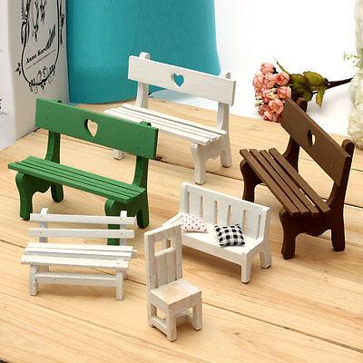 Mini Fairy Garden Wooden Chair Wedding Cake Model DollHouse Grocery Decor