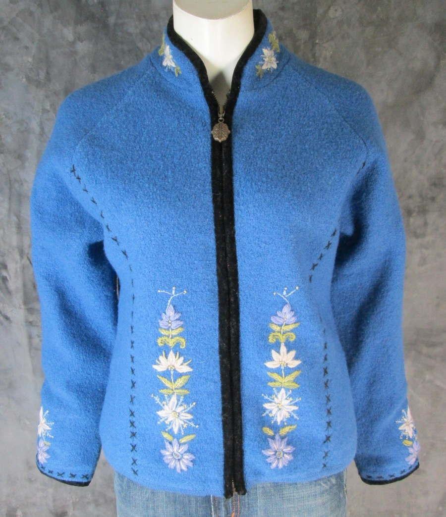 Icelandic Design Wool Full Zip Embroidered Cardigan Sweater Coat M (8231)