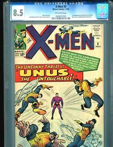 X-Men-8-CGC-8-5-1st-Unus-the-Untouchable-1964-Amazing-copy-BIN-595-Marvel