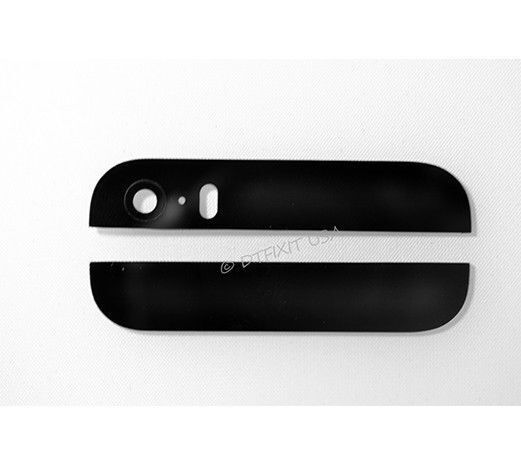 Black Back Rear Top Bottom Glass Lens Cover For iPhone 5S With Camera Flash Lens
