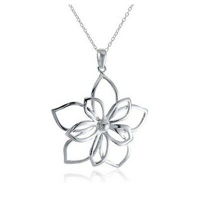 *UK* 925 SILVER PLT ABSTRACT FLOWER PENDANT NECKLACE CHAIN LADIES HOLLOW PETALS