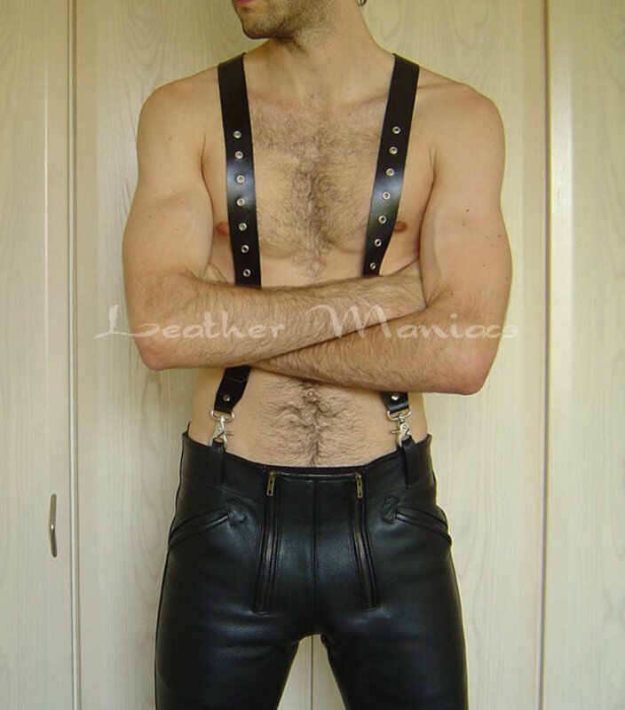 Leather suspenders braces for leather trousers