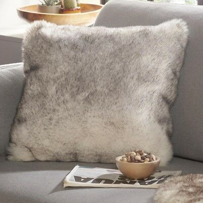 souple fausse fourrure déco coussin Superior Blanc Crème nature dipdye 43x43 cm