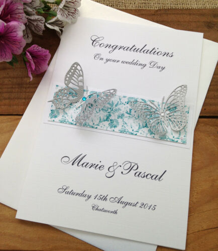 Large Handmade Personalised Congratulations Wedding Card Silver Butterflies