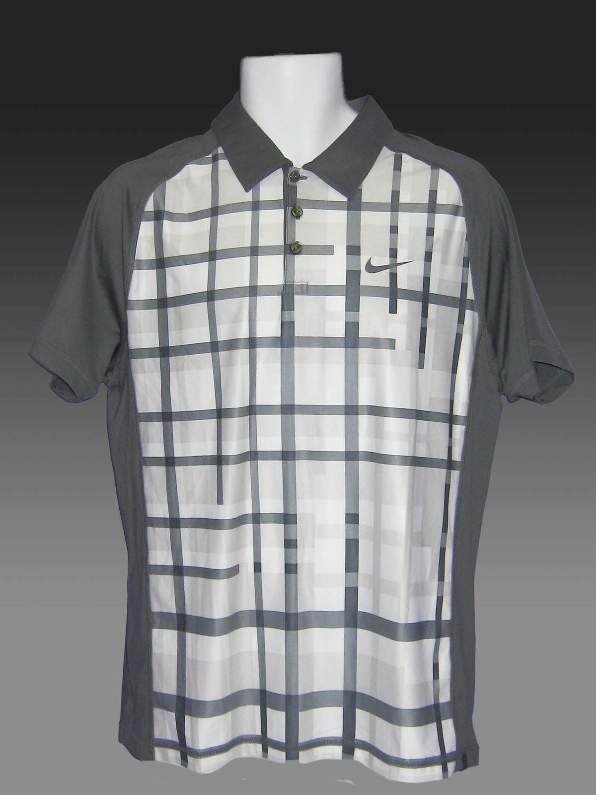 Vintage Nuevo Nike Tenis Drifit Polo gris y blancoo  M  genuina alta calidad