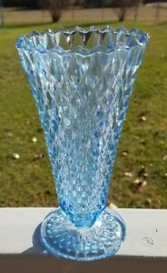 Vintage-Indiana-Glass-Ice-Blue-Diamond-Point-7-75-034-Footed-Vase