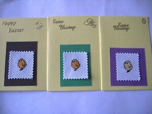Easter Cards Completed Cross Stitch mixed pack of 3 cards chicks