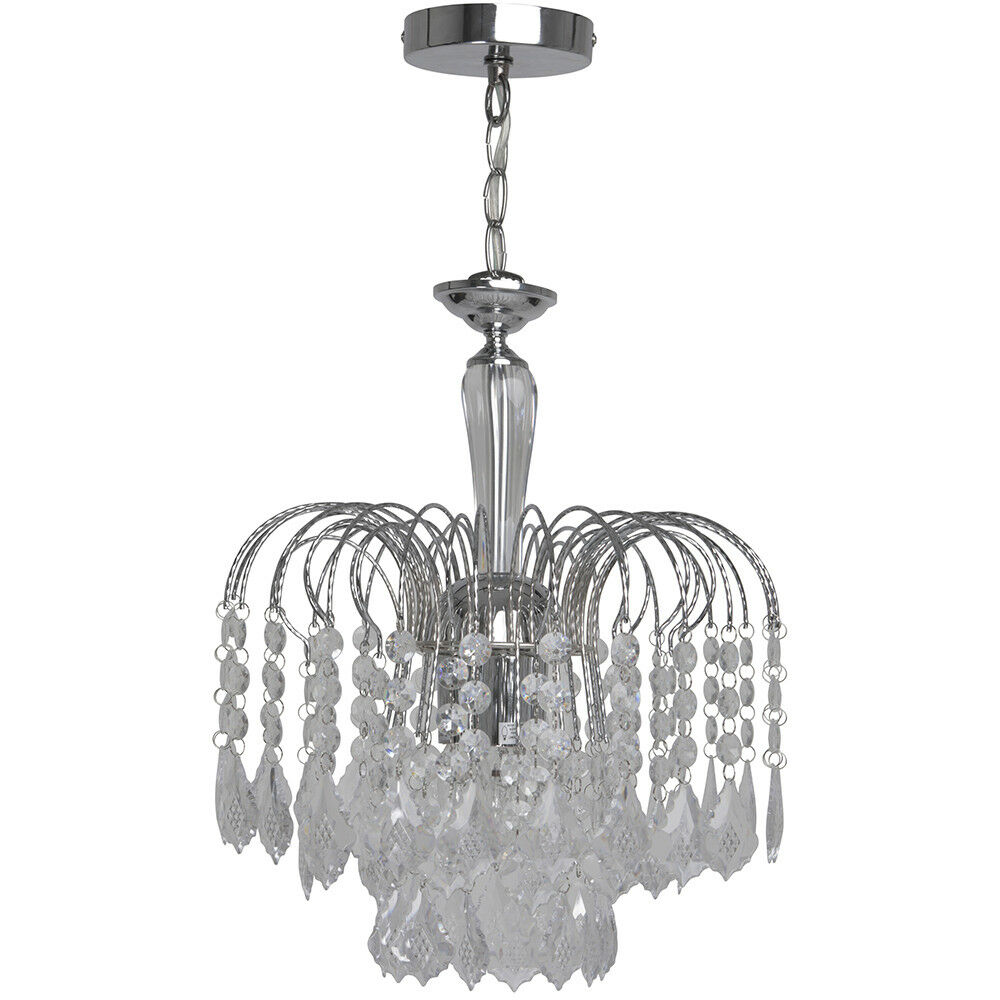 KLiving Sardinia 3-licht Chrome Ceiling Chandelier with transparent acrylic
