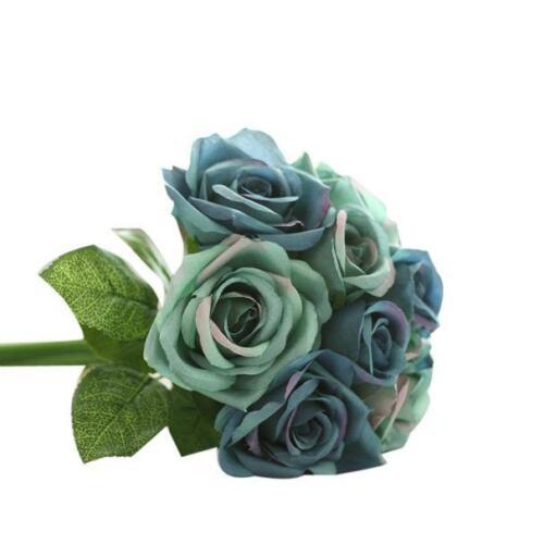9 Heads Artificial Silk Fake Flowers Leaf Rose Wedding Floral Decor Bouquet XI
