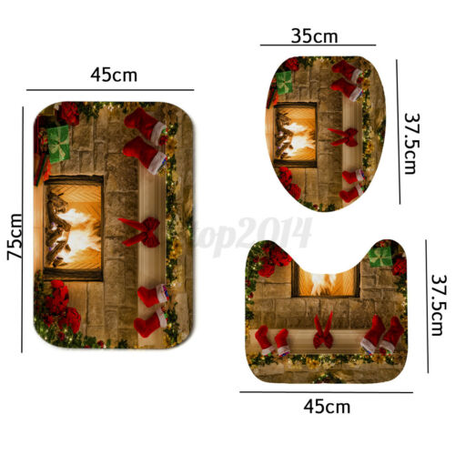 US Christmas Fireplace Waterproof Shower Curtain Bath Mat Carpet Toilet Cover