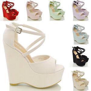 Womens-Strappy-Platform-Wedge-Ladies-Peep-Toe-High-Heel-Sandals-Shoes-Size-3-8
