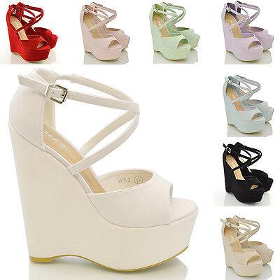 Womens Strappy Platform Wedge Ladies Peep Toe High Heel Sandals Shoes Size 3-8