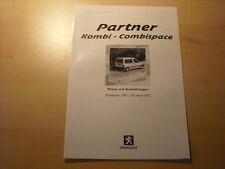 50700) Peugeot Partner Kombi Preise & Extras Prospekt 04/2001